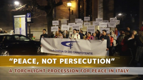 """Peace, Not Persecution""— A Torchlight Procession for Peace in Italy"